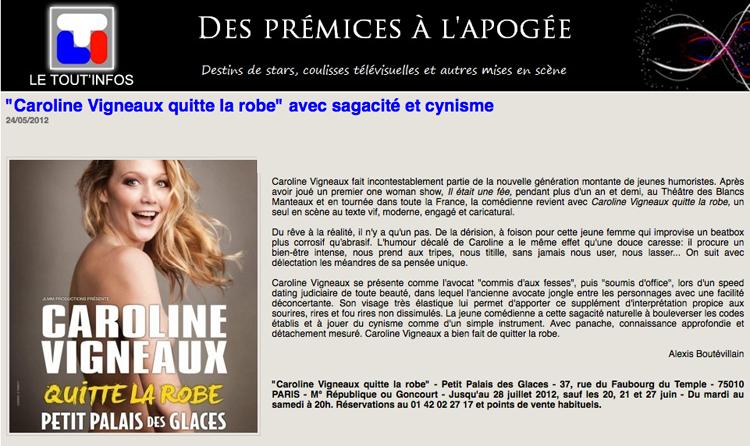 CAROLINE VIGNEAUX QUITTE LA ROBE - Comédie de Paris